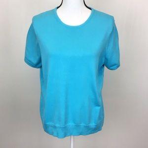 Lands' End Aqua Blue Short Sleeve Crewneck Sweater